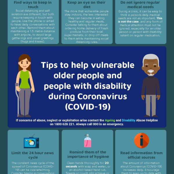 Tips to Help Vulnerable Older People and People with a Disability During COVID19