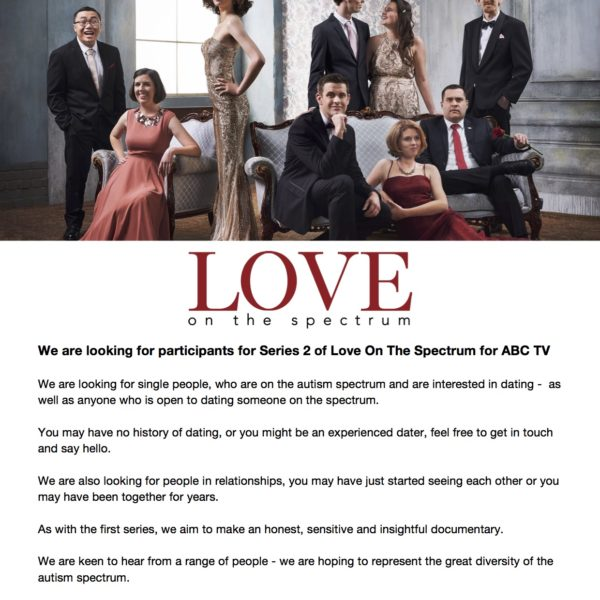 Looking for TV Show Participants – Love on the spectrum